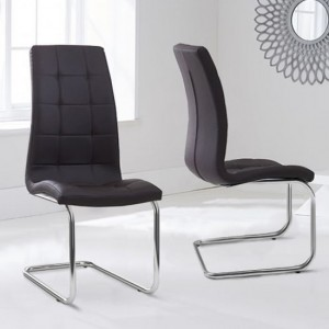 Lucy Brown Faux Leather Dining Chairs In Pair
