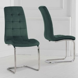 Lucy Green Velvet Upholstered Dining Chairs In Pair