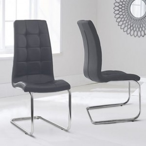 Lucy Grey Faux Leather Dining Chairs In Pair