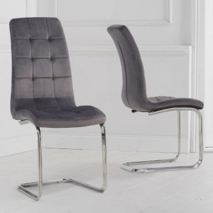 Lucy Grey Velvet Upholstered Dining Chairs In Pair