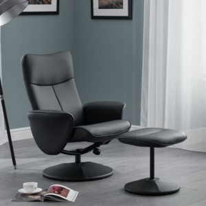 Lugano Faux Leather Recliner Chair With Stool In Charcoal Grey