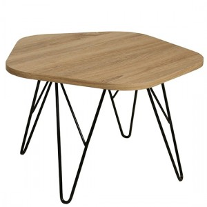 Lugano Wooden Coffee Table In Natural With Black Metal Legs