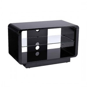 Luna Wooden TV Stand In High Gloss Black With Glass Shelf