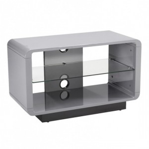 Luna Wooden TV Stand In High Gloss Grey With Glass Shelf