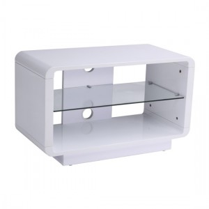 Luna Wooden TV Stand In High Gloss White With Glass Shelf