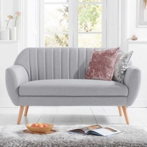 Luxor Linen Fabric Upholstered 2 Seater Sofa In Grey