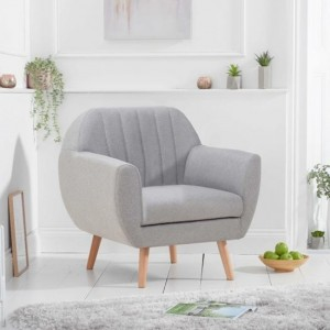 Luxor Linen Fabric Upholstered Armchair In Grey