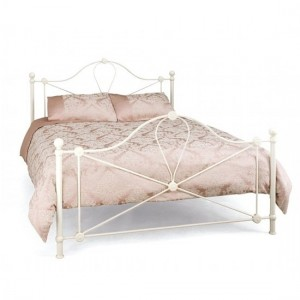 Lyon Metal King Size Bed In Ivory Gloss