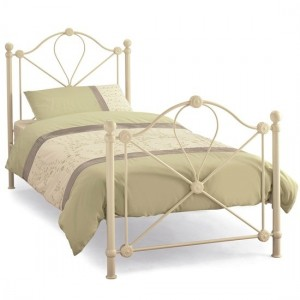 Lyon Metal Single Bed In Ivory Gloss
