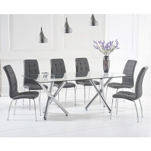 Paris Glass Dining Table In Clear With 6 Dewall Grey Dining Chairs