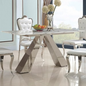 Madagascar Marble Dining Table In Lacquer With Stainless Steel Base