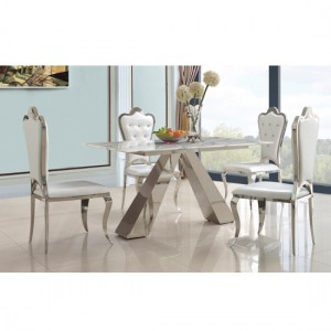 Madagascar Natural Stone Marble Dining Set With 4 White PU Chairs