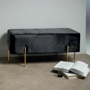 Madelyn Black Velvet Bench With Polished Golden Base