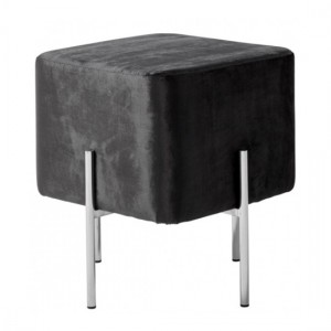 Madelyn Black Velvet Stool With Polished Stainless Steel Base