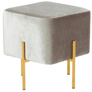 Madelyn Grey Velvet Stool With Polished Golden Base