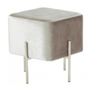 Madelyn Grey Velvet Stool With Polished Stainless Steel Base