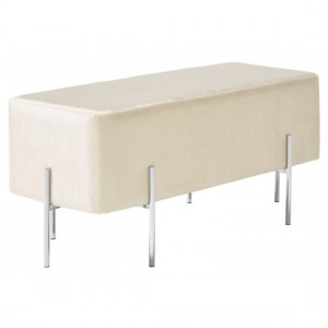 Madelyn White Velvet Bench With Polished Stainless Steel Base