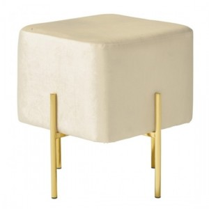 Madelyn White Velvet Stool With Polished Golden Base