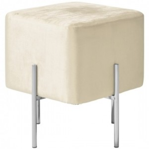 Madelyn White Velvet Stool With Polished Stainless Steel Base