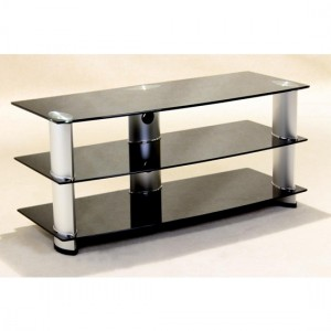 Madera Black Glass TV Stand With Aluminium Tubes