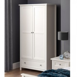 Maine Wooden 2 Doors 1 Drawer Wardrobe In Pure White