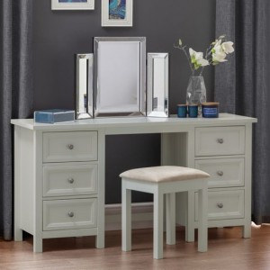 Maine Wooden Dressing Table And Stool In Dove Grey