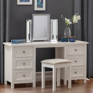 Maine Wooden Dressing Table And Stool In Surf White