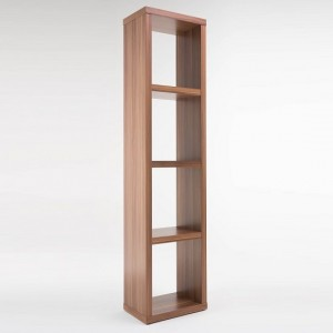 Maine Wooden Narrow Bookcase In Walnut With 3 Shelf
