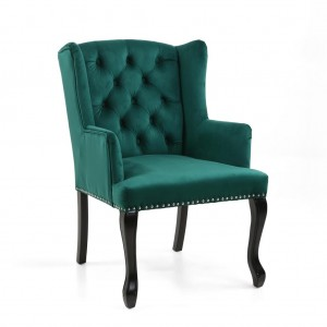 Maison Brushed Velvet Accent Chair In Green