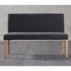 Maiya Large Fabric Dining Bench With Back In Black