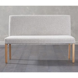 Maiya Large Fabric Dining Bench With Back In Grey