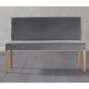 Maiya Large Fabric Dining Bench With Back In Plush Grey