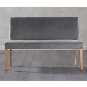 Maiya Large Plush Grey Fabric Bench With Back And Oak Wooden Legs