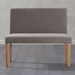 Maiya Small Fabric Dining Bench With Back In Brown