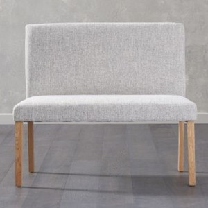 Maiya Small Fabric Dining Bench With Back In Grey