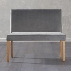 Maiya Small Fabric Dining Bench With Back In Plush Grey