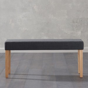 Maiya Small Plush Black Fabric Bench With Oak Wooden Legs