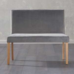Maiya Small Plush Grey Fabric Bench With Back And Oak Wooden Legs
