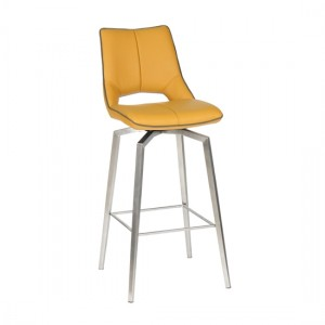 Mako Swivel Leather Effect Bar Chair In Yellow
