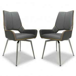 Mako Swivel Graphite Grey Leather Dining Chair In Pair
