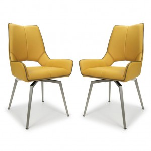 Mako Swivel Yellow Leather Dining Chair In Pair