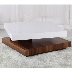 Malawi Wooden Moveable Coffee Table White High Gloss And Walnut