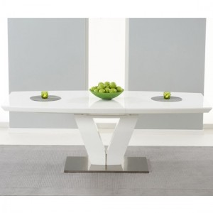 Malibu Extending Wooden Dining Table In White High Gloss