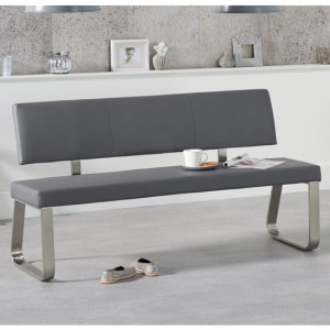 Malibu Large Faux Leather Dining Bench With Back In Grey