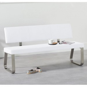 Malibu Large Faux Leather Dining Bench With Back In White