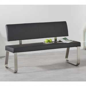 Malibu Medium Faux Leather Dining Bench With Back In Black