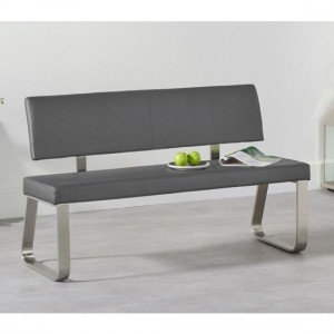 Malibu Medium Faux Leather Dining Bench With Back In Grey