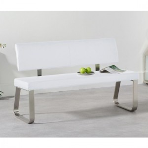 Malibu Medium Faux Leather Dining Bench With Back In White