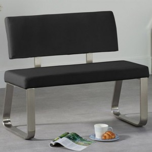 Malibu Small Faux Leather Dining Bench With Back In Black