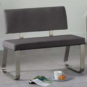 Malibu Small Faux Leather Dining Bench With Back In Grey